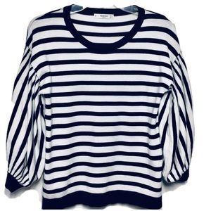 Mango Casual Bubble Sleeve Black White Sweater S